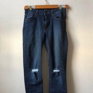 Just Black Jeans - Distressed dark justblack denim
